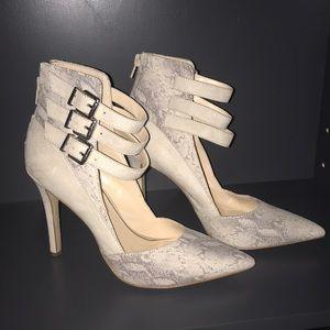 Faux suede/snake skin print high heel